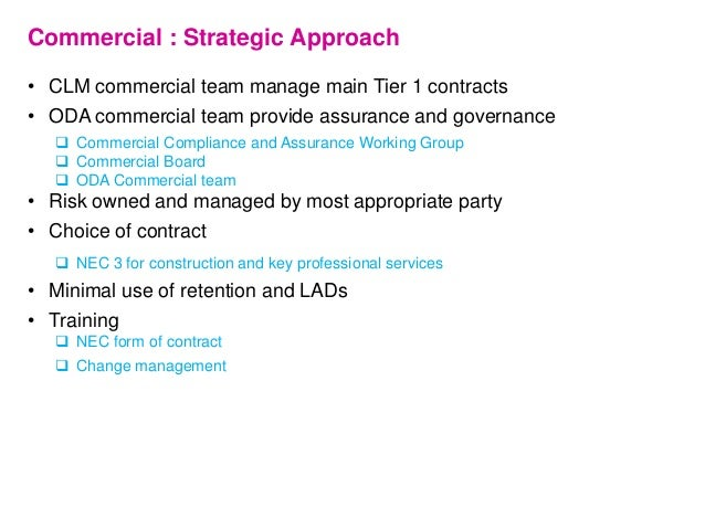 Commercial : Strategic Approach • CLM commercial team manage main Tier 1 contracts • ODA commercial team provide assurance...