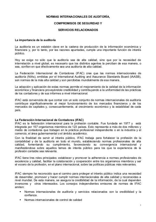 NORMAS INTERNACIONALES DE AUDITORÍA,                              COMPROMISOS DE SEGURIDAD Y                              ...