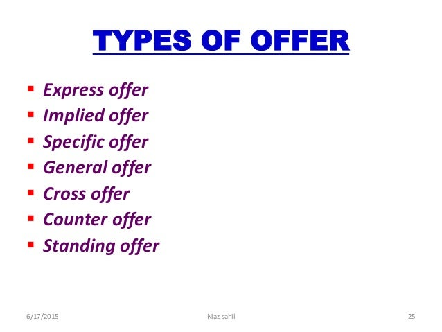 types of offer in law