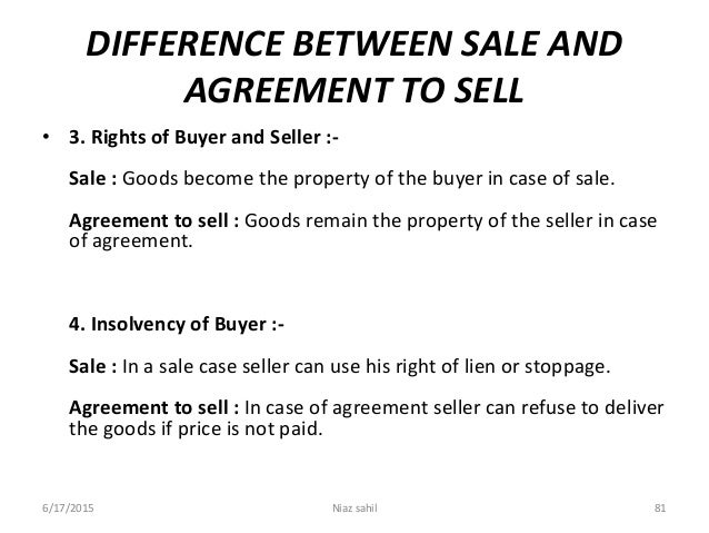 difference between agreement to sell and agreement for sale