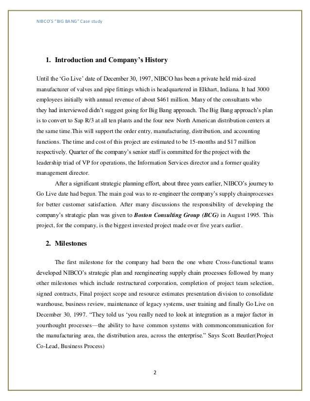 nibco bigbang Li wang d10306878 nibco's big bang: an sap implementation itm 6:00pm-10:00pm fall 2015 date:2015/11/27 introduction (5 points.