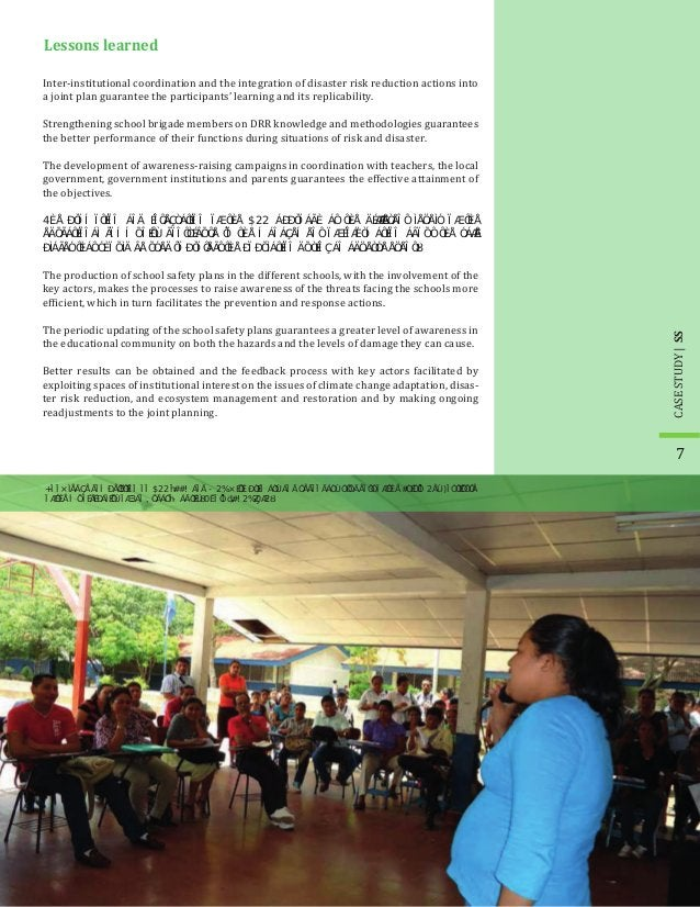 Inter-institutional coordination and the integration of disaster risk reduction actions into a joint plan guarantee the pa...