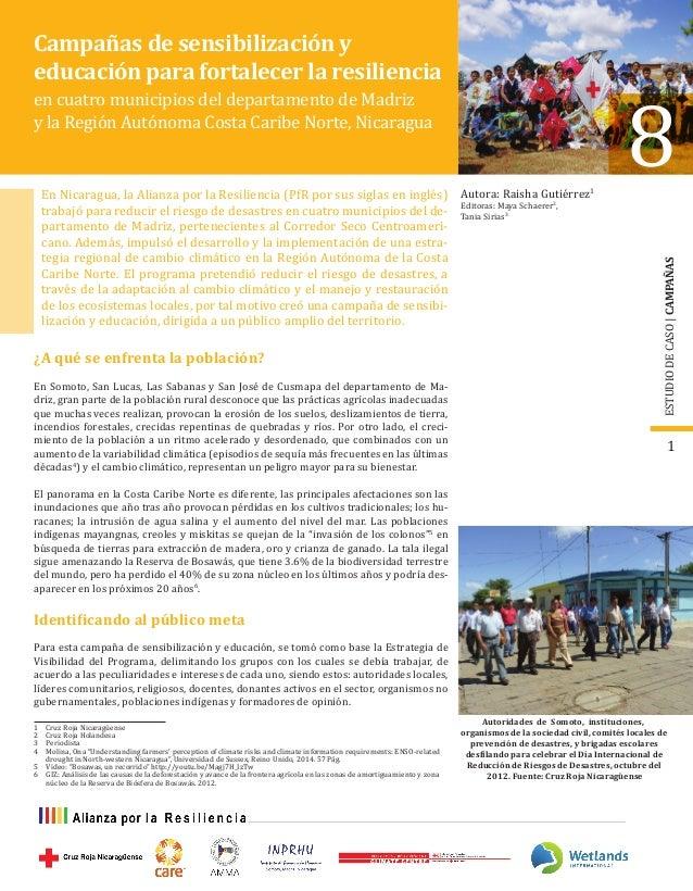 ESTUDIODECASO|CAMPAÑAS 1 Campañas de sensibilización y educación para fortalecer la resiliencia en cuatro municipios del d...