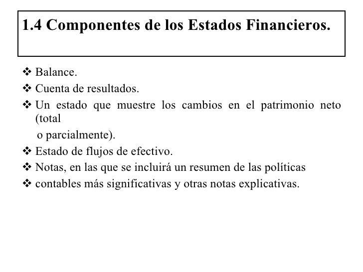 1.4 Componentes de los Estados Financieros. <ul><li>Balance. </li></ul><ul><li>Cuenta de resultados. </li></ul><ul><li>Un ...