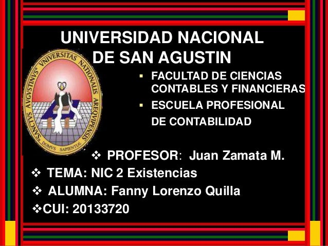 UNIVERSIDAD NACIONAL  DE SAN AGUSTIN   FACULTAD DE CIENCIAS  CONTABLES Y FINANCIERAS   ESCUELA PROFESIONAL  DE CONTABILI...