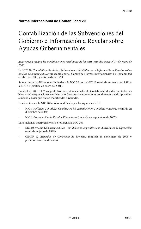 NIC 20  NIC 20     Norma Internacional de Contabilidad 20   Contabilización de las Subvenciones del Gobierno e Información...