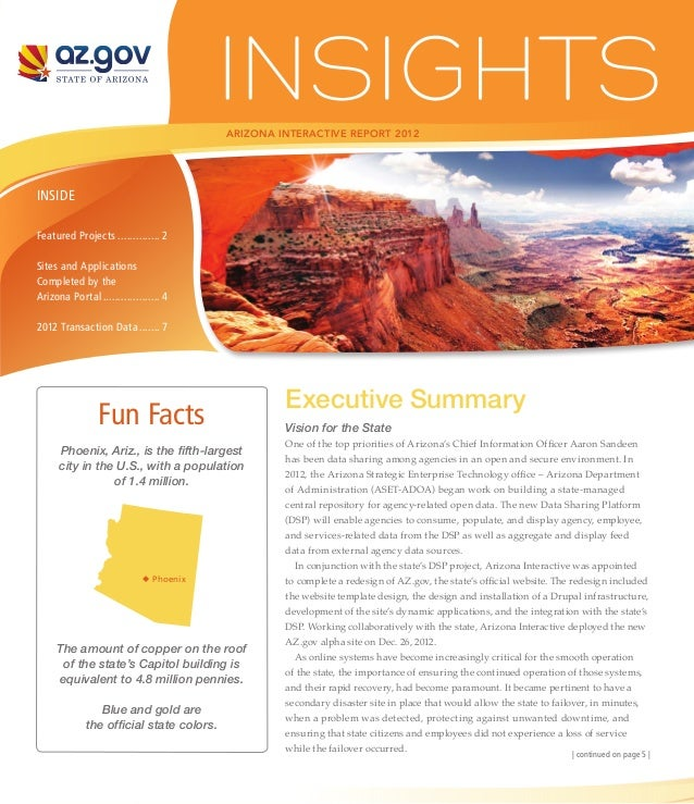ARIZONA INTERACTIVE REPORT 2012INSIDEFeatured Projects............... 2Sites and ApplicationsCompleted by theArizona Porta...