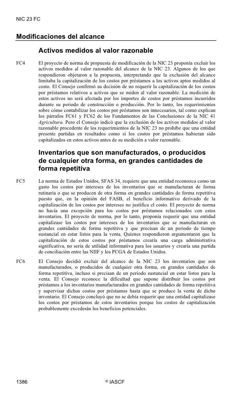 NIC 23 FC   Modificaciones del alcance          Activos medidos al valor razonable FC4     El proyecto de norma de propues...