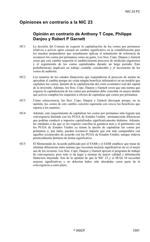 NIC 23 FC   Opiniones en contrario a la NIC 23        Opinión en contrario de Anthony T Cope, Philippe       Danjou y Robe...