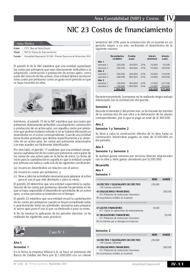 IVÁrea Contabilidad (NIIF) y Costos IV-11Actualidad EmpresarialN° 242 Primera Quincena - Noviembre 2011 Autor:C.P.C. Pas...