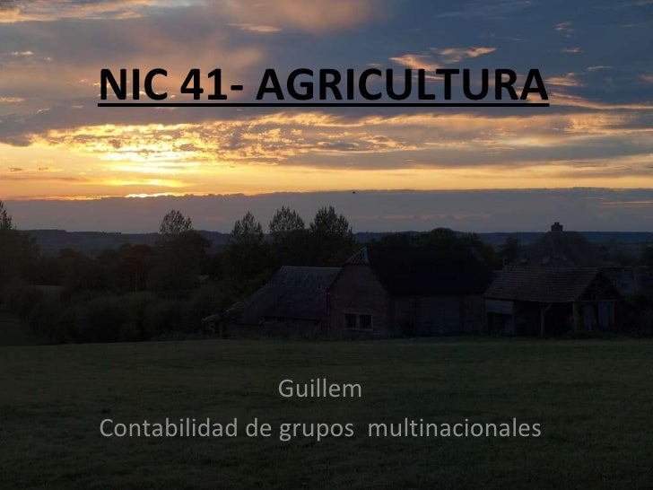 NIC 41- AGRICULTURA Guillem Contabilidad de grupos  multinacionales