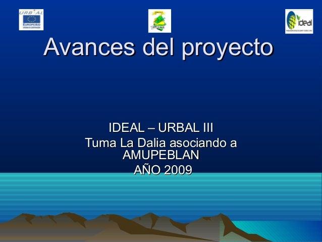 Avances del proyectoAvances del proyectoIDEAL – URBAL IIIIDEAL – URBAL IIITuma La Dalia asociando aTuma La Dalia asociando...