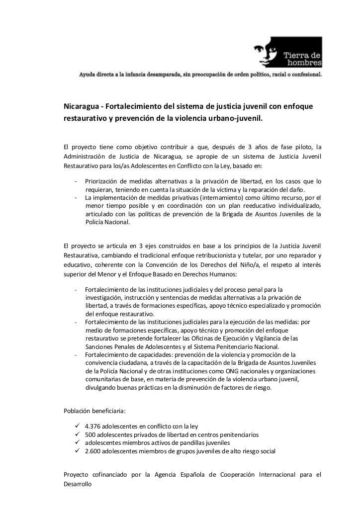 Nicaragua - Fortalecimiento del sistema de justicia juvenil con enfoquerestaurativo y prevención de la violencia urbano-ju...
