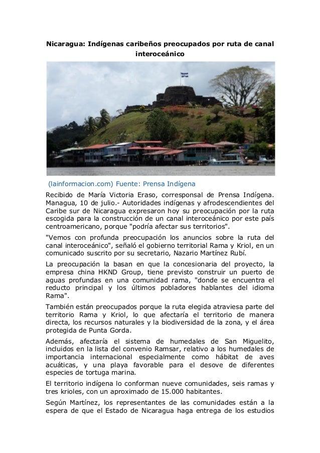 Nicaragua: Indígenas caribeños preocupados por ruta de canal interoceánico (lainformacion.com) Fuente: Prensa Indígena Rec...