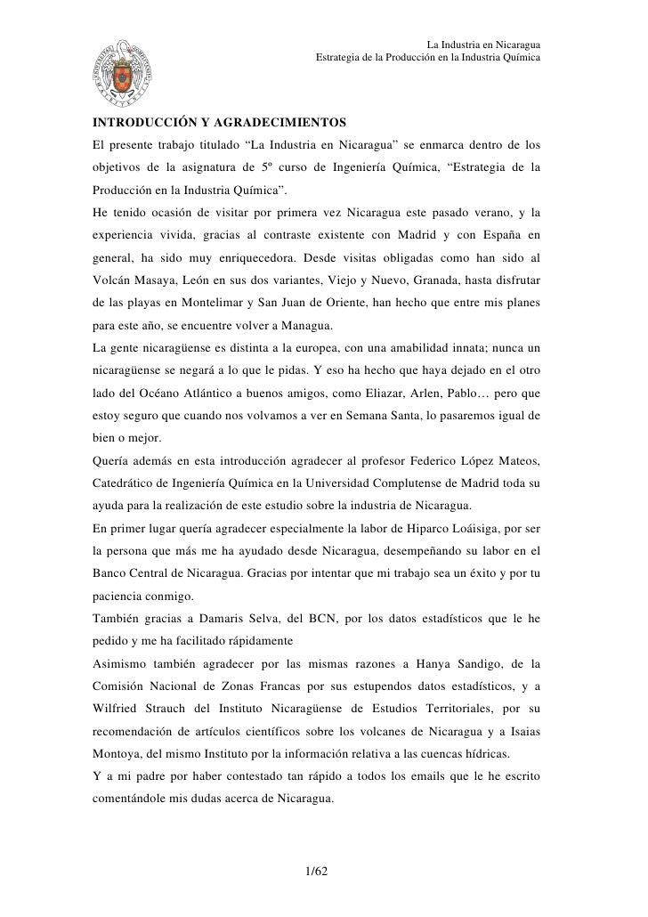 La Industria en Nicaragua                                           Estrategia de la Producción en la Industria QuímicaINT...