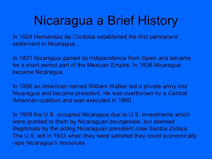 a brief history of the first inhabitants of nicaragua Unlike most editing & proofreading services, we edit for everything: grammar, spelling, punctuation, idea flow, sentence structure, & more get started now.