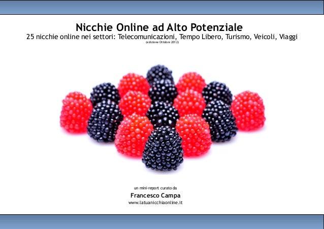 Nicchie Online ad Alto Potenziale25 nicchie online nei settori: Telecomunicazioni, Tempo Libero, Turismo, Veicoli, Viaggi ...