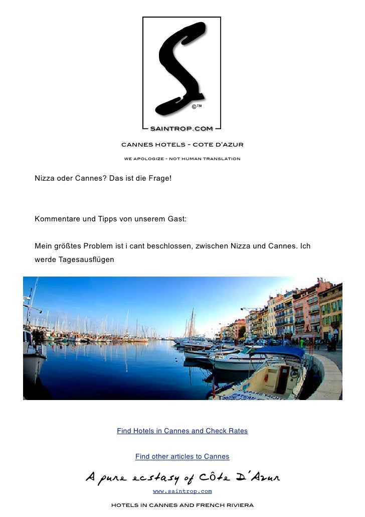 cannes hotels - cote d'azur                           we apologize - not human translation    Nizza oder Cannes? Das ist d...
