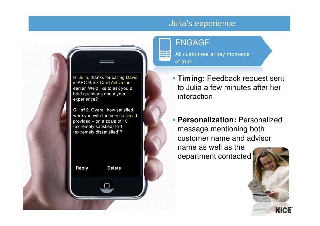 Julia's experience                                      ENGAGE                                      All customers at key m...