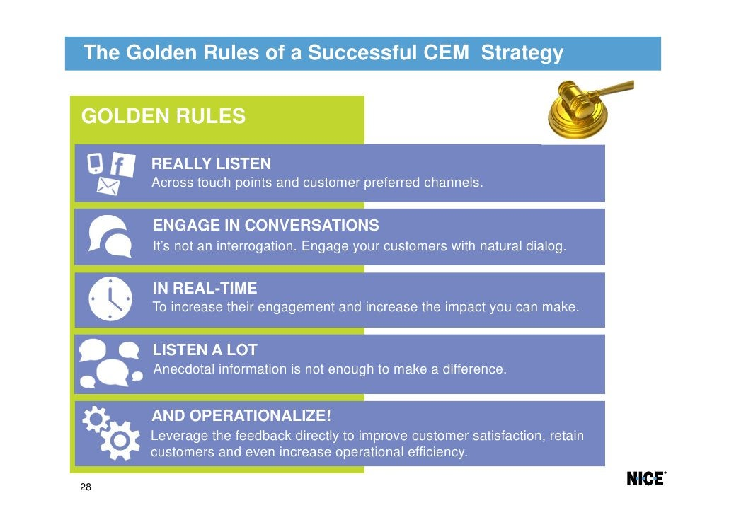 The Golden Rules of a Successful CEM StrategyGOLDEN RULES      REALLY LISTEN      Across touch points and customer preferr...