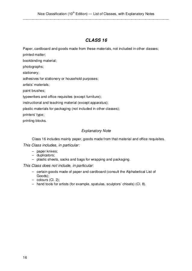 Nice Classification (10th Edition) — List of Classes, with Explanatory Notes  ____________________________________________...