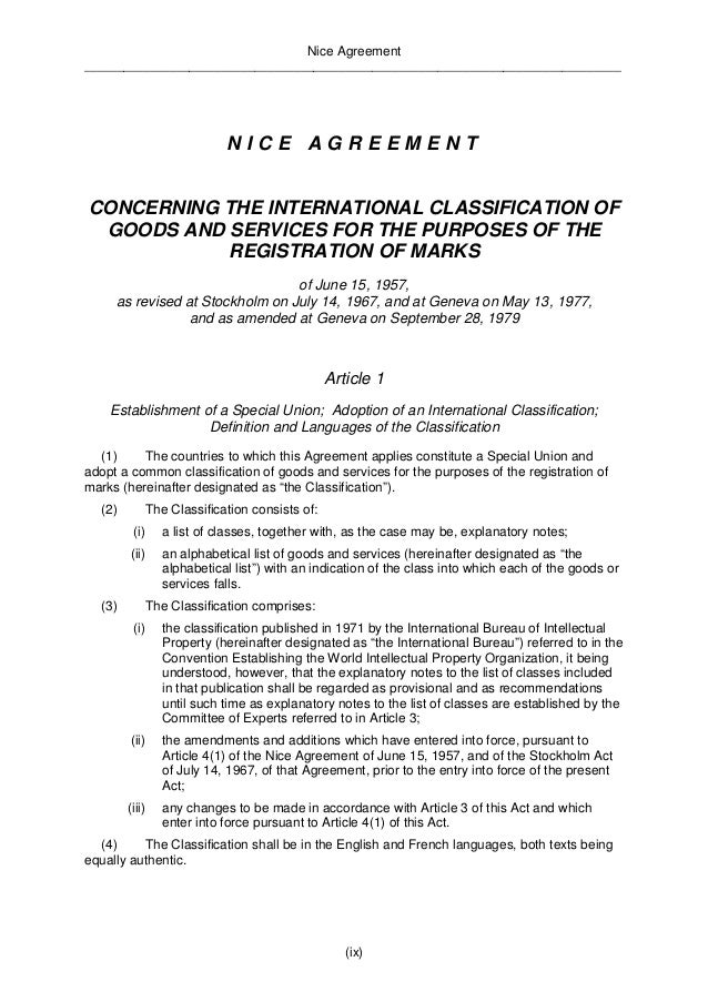 Nice Agreement  __________________________________________________________________________________  (5)(a) The classificat...