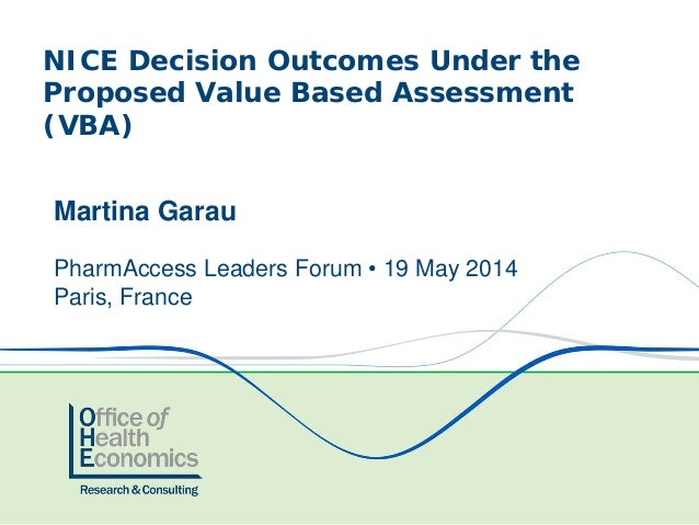NICE Decision Outcomes Under the Proposed Value Based Assessment (VBA) Martina Garau PharmAccess Leaders Forum • 19 May 20...