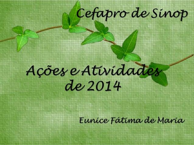 Eunice Fátima de Maria Cefapro de Sinop Ações e Atividades de 2014