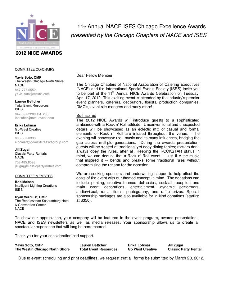 NICE Awards Sponsorship Form. 11th Annual NACE ISES Chicago Excellence  Awards Presented ...