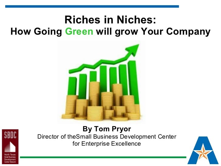 Riches in Niches: How Going  Green  will grow Your Company By Tom Pryor Director of theSmall Business Development Center f...
