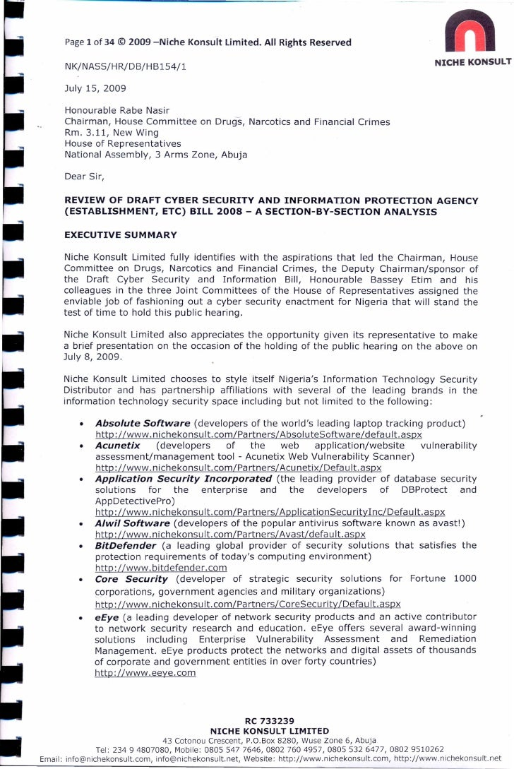 Page 1 of 34 © 2009 –Niche Konsult Limited. All Rights Reserved  NK/NASS/HR/DB/HB154/1  July 15, 2009  Honourable Rabe Nas...