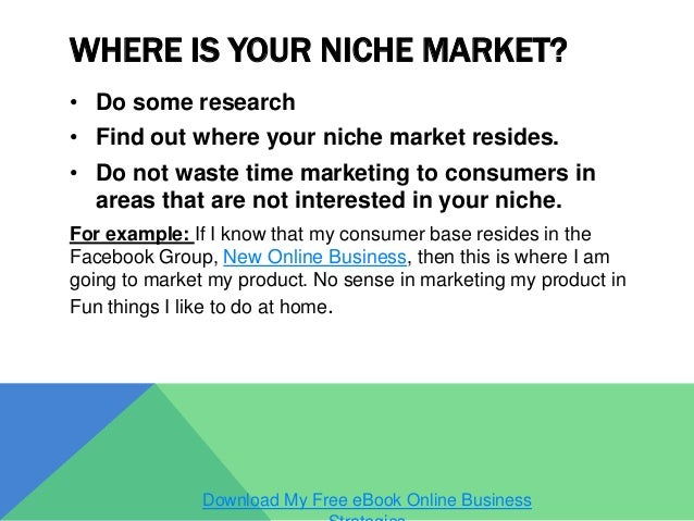 niche promoting examples