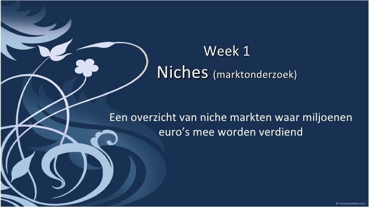 Week 1 Niches  (marktonderzoek) Een overzicht van niche markten waar miljoenen euro's mee worden verdiend