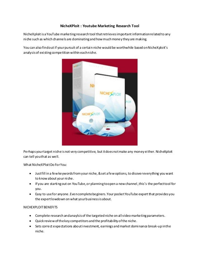 NicheXPloit : Youtube Marketing Research Tool NicheXploitisaYouTube marketingresearchtool thatretrievesimportantinformatio...