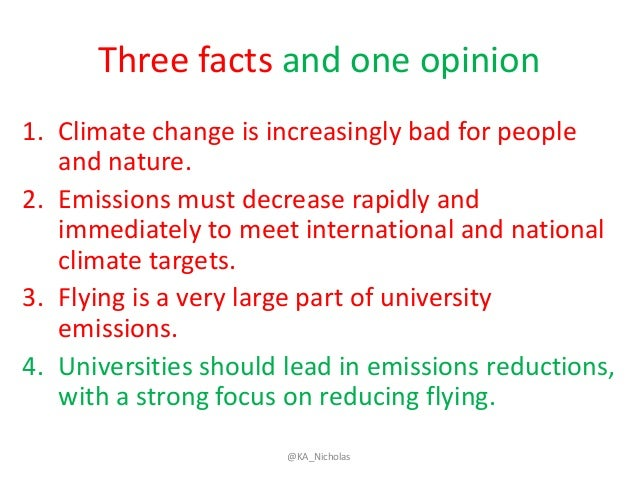 Three facts and one opinion 1. Climate change is increasingly bad for people and nature. 2. Emissions must decrease rapidl...