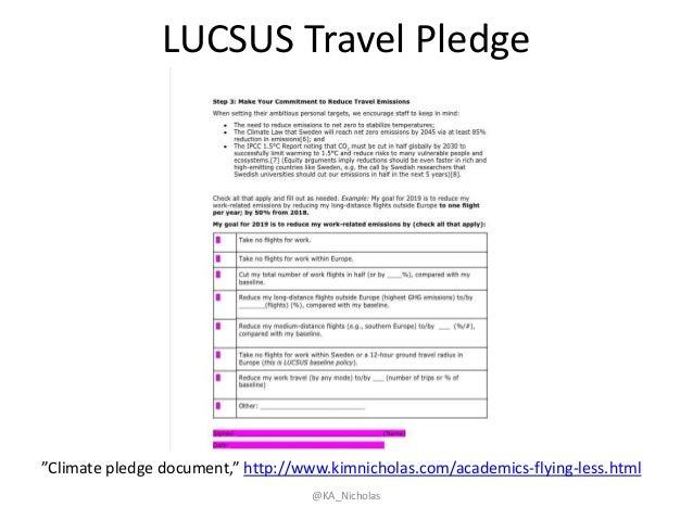 "LUCSUS Travel Pledge @KA_Nicholas ""Climate pledge document,"" http://www.kimnicholas.com/academics-flying-less.html"