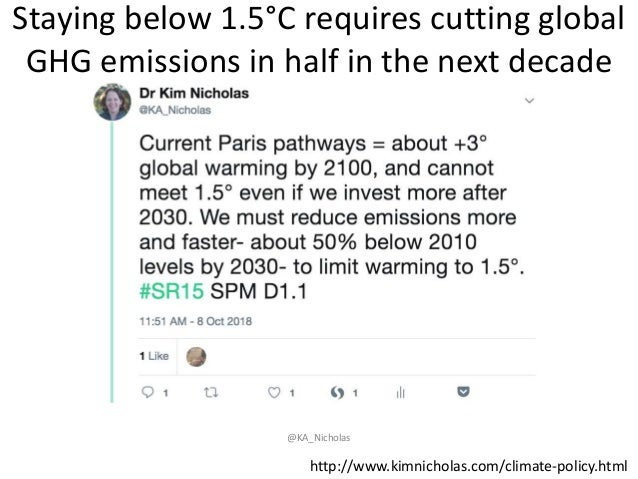 Staying below 1.5°C requires cutting global GHG emissions in half in the next decade @KA_Nicholas http://www.kimnicholas.c...