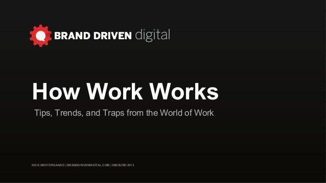 NICK WESTERGAARD | BRANDDRIVENDIGITAL.COM | INBOUND 2013 How Work Works Tips, Trends, and Traps from the World of Work