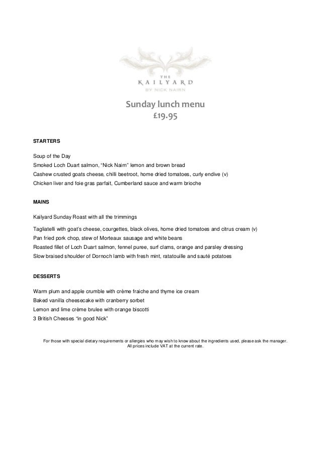 Sunday lunch menu                                                     £19.95STARTERSSoup of the DaySmoked Loch Duart salmo...