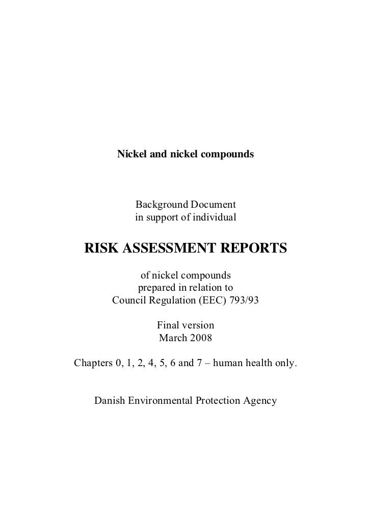 Nickel and nickel compounds              Background Document              in support of individual  RISK ASSESSMENT REPORT...