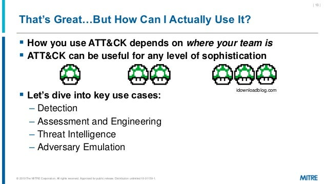 That's Great…But How Can I Actually Use It?  How you use ATT&CK depends on where your team is  ATT&CK can be useful for ...