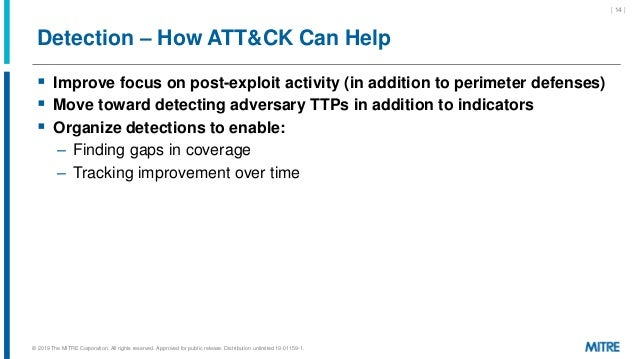 Detection – How ATT&CK Can Help  Improve focus on post-exploit activity (in addition to perimeter defenses)  Move toward...
