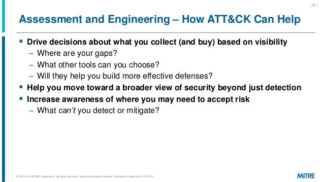 Assessment and Engineering – How ATT&CK Can Help  Drive decisions about what you collect (and buy) based on visibility – ...