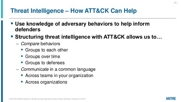 Threat Intelligence – How ATT&CK Can Help  Use knowledge of adversary behaviors to help inform defenders  Structuring th...