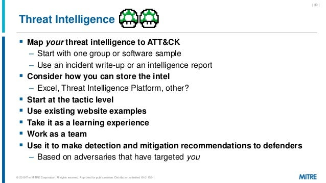 Threat Intelligence  Map your threat intelligence to ATT&CK – Start with one group or software sample – Use an incident w...