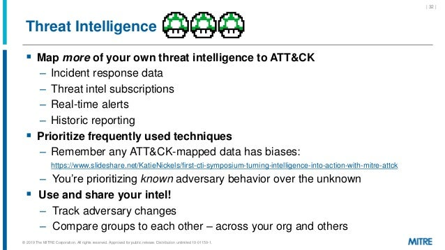 Threat Intelligence  Map more of your own threat intelligence to ATT&CK – Incident response data – Threat intel subscript...