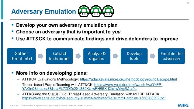 Adversary Emulation  Develop your own adversary emulation plan  Choose an adversary that is important to you  Use ATT&C...