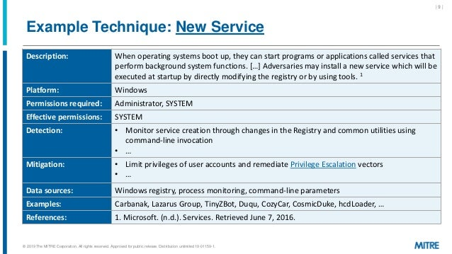 Example Technique: New Service | 9 | Description: When operating systems boot up, they can start programs or applications ...