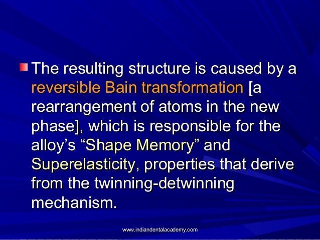 The resulting structure is caused by a reversible Bain transformation [a rearrangement of atoms in the new phase], which i...