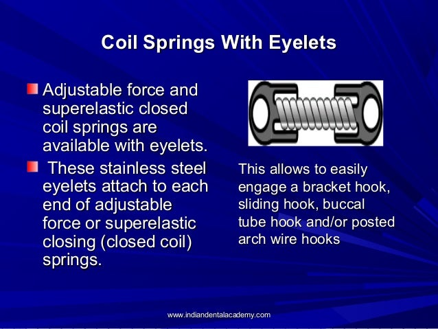 Coil Springs With Eyelets Adjustable force and superelastic closed coil springs are available with eyelets. These stainles...